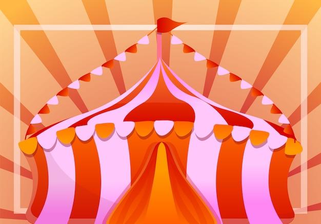 Красочная палатка концепция баннера, мультяшном стиле