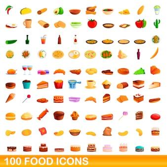 食品のアイコンセット、漫画のスタイル
