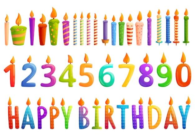 Набор иконок день рождения свечи, мультяшном стиле