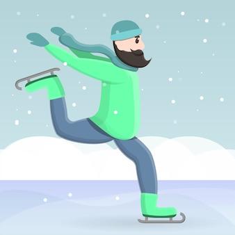 Ледовые коньки в мультяшном стиле