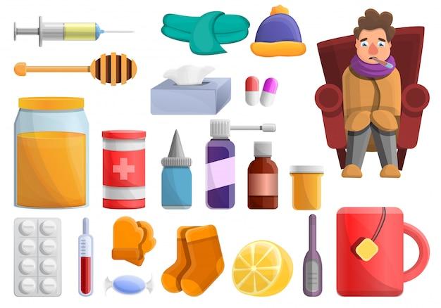 Набор элементов гриппа, мультяшном стиле