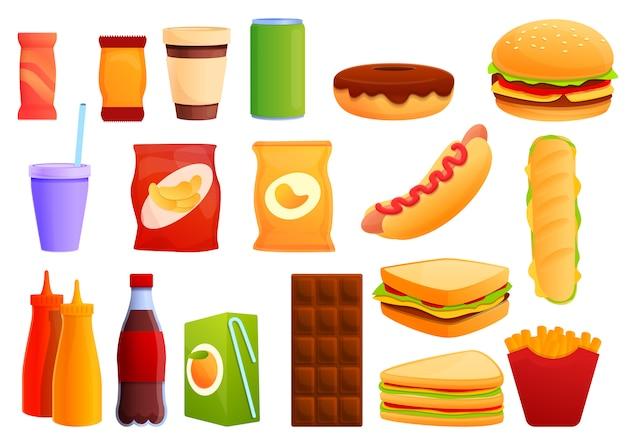 Набор сэндвич-бар, мультяшном стиле