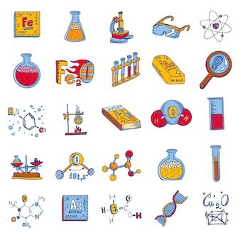 Химическая лаборатория набор иконок