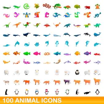 動物のアイコンセット、漫画のスタイル