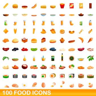 Набор иконок еды, мультяшном стиле