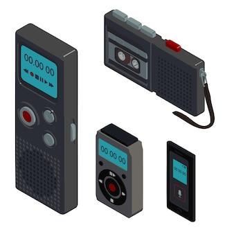 ディクタフォンのアイコンセット、アイソメ図スタイル