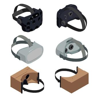 ゲームゴーグルのアイコンセット、アイソメ図スタイル