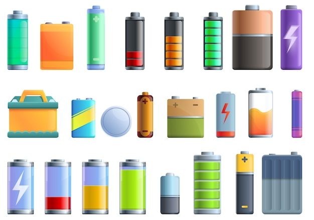 バッテリーのアイコンセット、漫画のスタイル