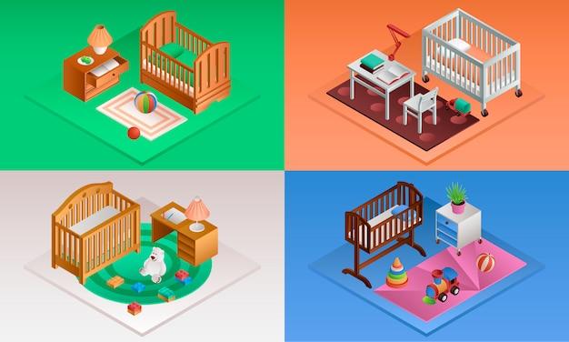 Детская кроватка установлена. изометрический набор детской кроватки