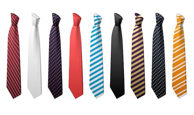 Галстук значок набор. изометрические набор галстуков векторных иконок