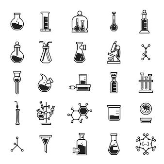Набор иконок химии, простой стиль