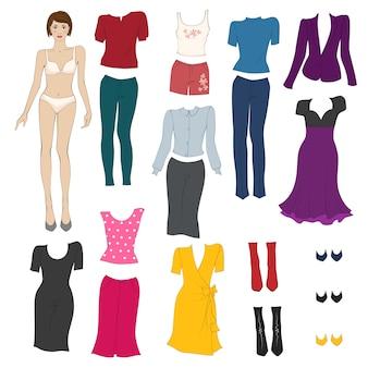 紙人形の服を