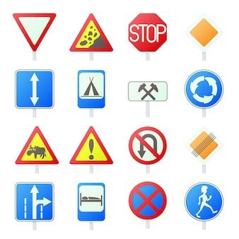 Дорожный знак набор иконок в мультяшном стиле, изолированных вектор
