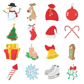 Рождественские иконки мультфильм, изолированных