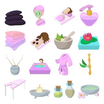Спа мультфильм иконки набор изолированных вектор