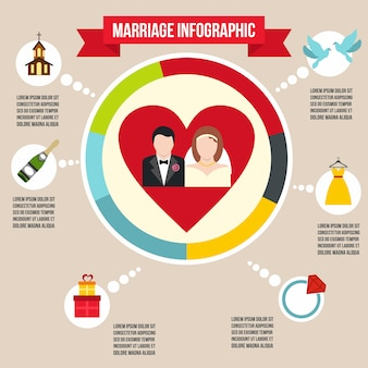 任意のデザインのフラットスタイルの結婚式結婚インフォグラフィック