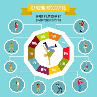 任意のデザインのフラットスタイルで踊るインフォグラフィック