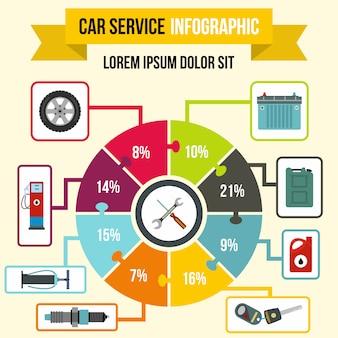 任意のデザインのフラットスタイルの車サービスインフォグラフィック