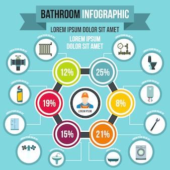 Ванная комната инфографики в плоском стиле для любого дизайна