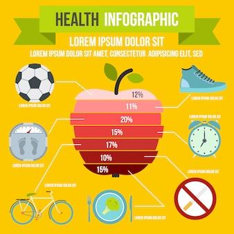 任意のデザインのフラットスタイルの健康インフォグラフィック