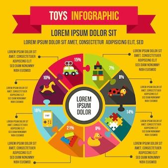 任意のデザインのフラットスタイルでおもちゃのインフォグラフィック要素