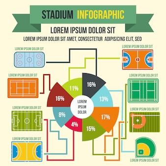 任意のデザインのフラットスタイルのスタジアムインフォグラフィック要素