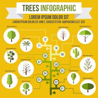 任意のデザインのフラットスタイルの木のインフォグラフィック