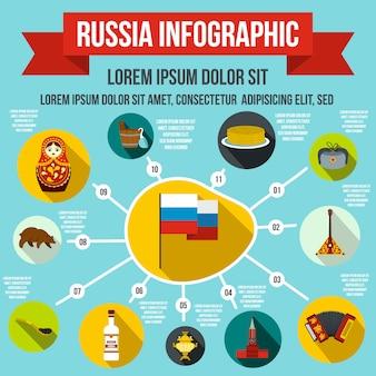 任意のデザインのフラットスタイルでロシアのインフォグラフィック要素