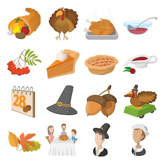 Набор иконок мультфильм день благодарения изолированных