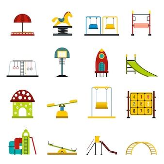 Набор плоских элементов игровой площадки для веб и мобильных устройств