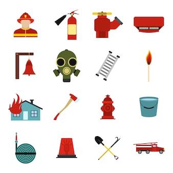 Набор плоских элементов пожарного для веб и мобильных устройств