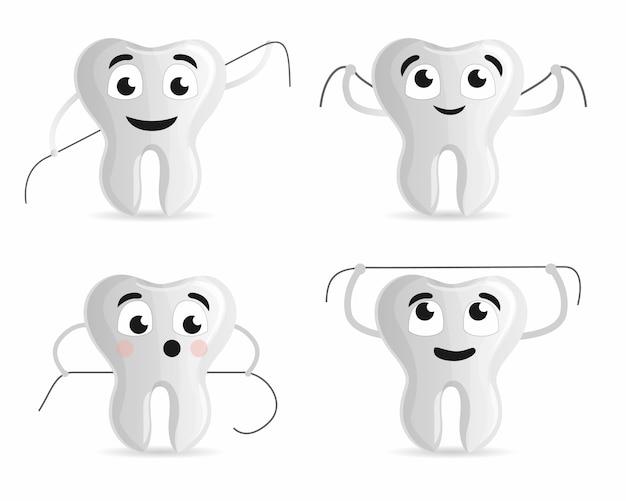 Зубная нить значок набор. мультяшный набор зубной нити векторные иконки для веб-дизайна