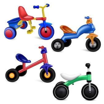 三輪車のアイコンを設定します。分離された三輪車ベクトルアイコンの現実的なセット