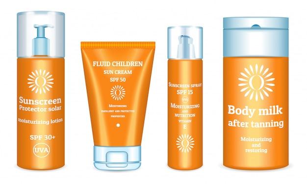 Набор солнцезащитных продуктов. реалистичный набор солнцезащитных кремов