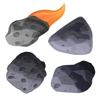 隕石アイコンセット、漫画のスタイル