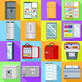 冷凍庫のアイコンを設定します。冷凍庫ベクトルのフラットセット