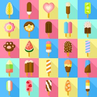 甘いアイスキャンデーのアイコンを設定します。甘いアイスキャンデーベクトルのフラットセット