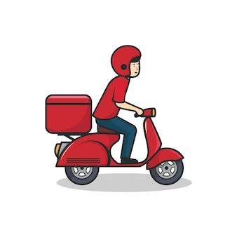 配達人の乗馬の赤いスクーターの図