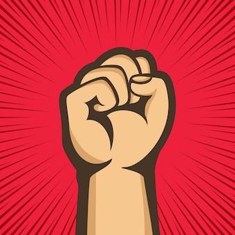 Сжатый кулак высоко поднят в знак протеста