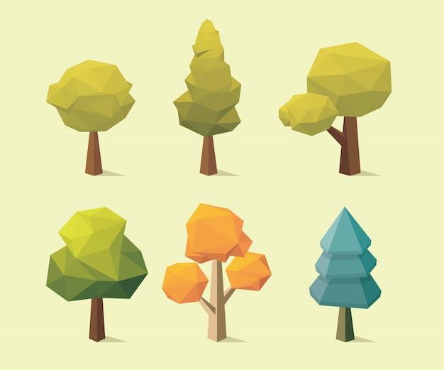 Дерево низкополигональная стиль векторные иллюстрации