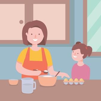 母と娘が一緒に料理イラスト