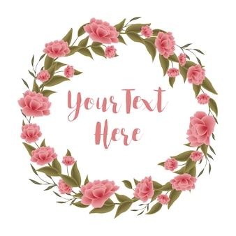 Цветы розового и зеленого венка
