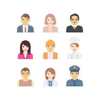 多様な顔の単純なベクトルを持つアバターの職業
