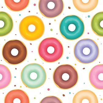 異なるトッピングパターンのドーナツ