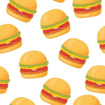 ハンバーガーのシームレスパターン