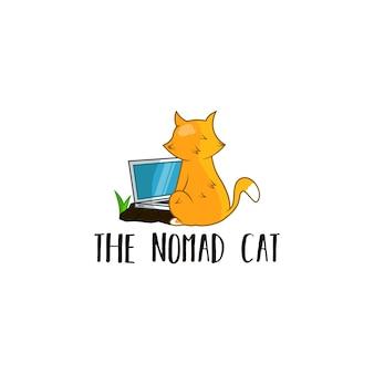 猫とラップトップのロゴ