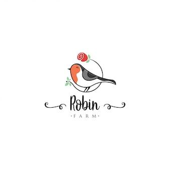 ロビン鳥のロゴのテンプレート。動物のロゴのベクトル。ペットの鳥のロゴのテンプレート