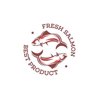 Шаблон логотипа лосося.