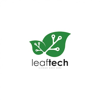 リーフテックのロゴのベクトル。葉と技術のロゴのテンプレート