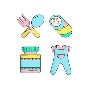 カラフルなかわいい赤ちゃんのアイコンをモノラインスタイルで設定